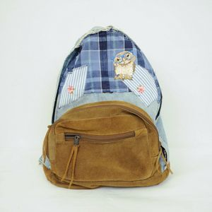 Handbags - Distressed Small Denim Backpack Patchwork Suede